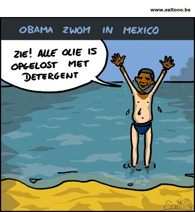 Obama zwemt in de Mexicaanse golf als steunbetuiging